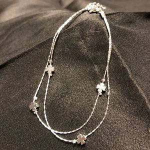 NWT!! Fine! Double Chain Shamrock Anklet